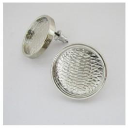 Uhan s ploščico okrogel srebrn 2kom.