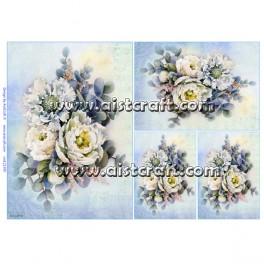 Rižev papir Bele rožice