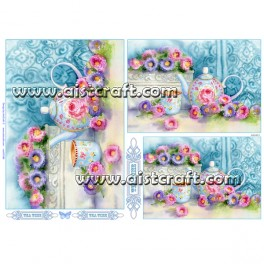 Rižev papir Čajnik z rožicami