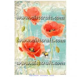 Rižev papir Mak in čebela
