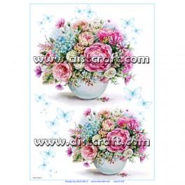 Rižev papir Šopek Vrtnice in Gortenzja
