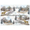 Rižev papir Jeleni v zimskem gozdu
